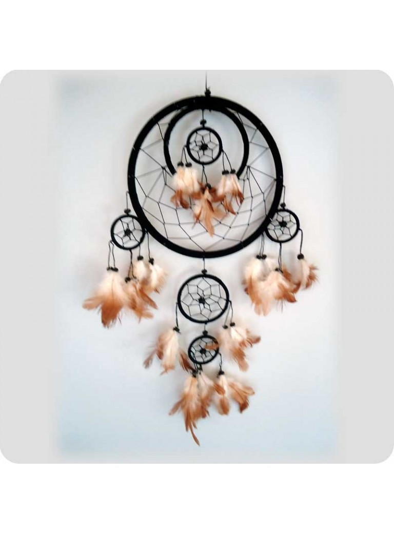 Dreamcatcher 22 cm black 6 rings
