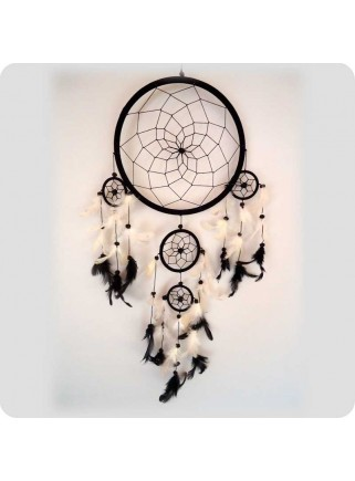 Dreamcatcher 22 cm black/white feathers