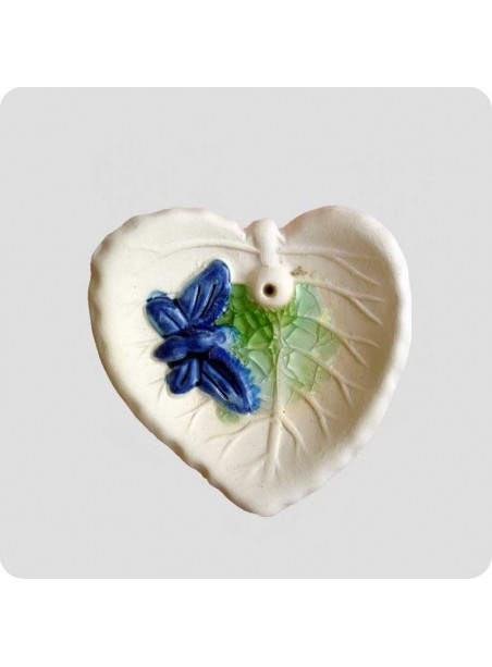 Incenseholder leaf with butterfly small