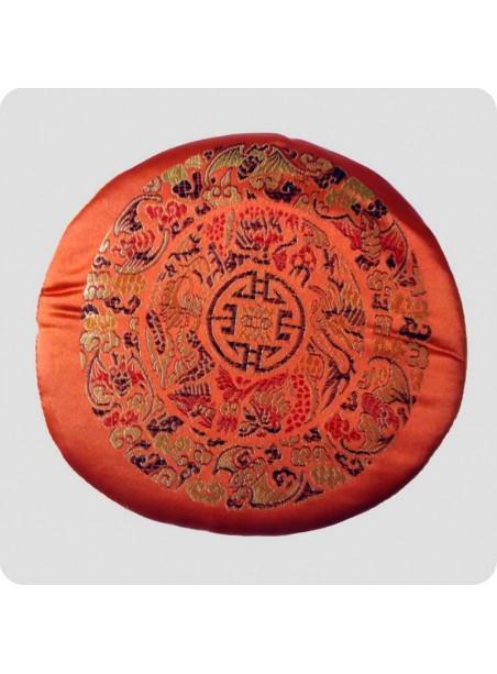 Flat cushion for singing bowls Mandala orange