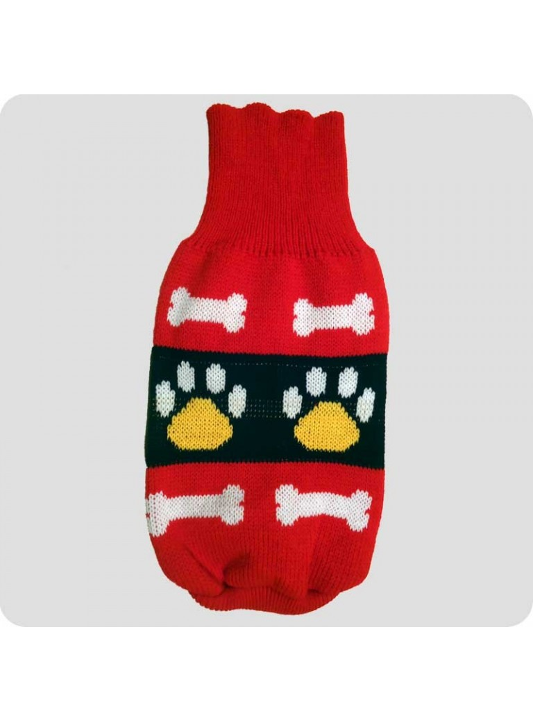 Sweater red with bone and pawprints L