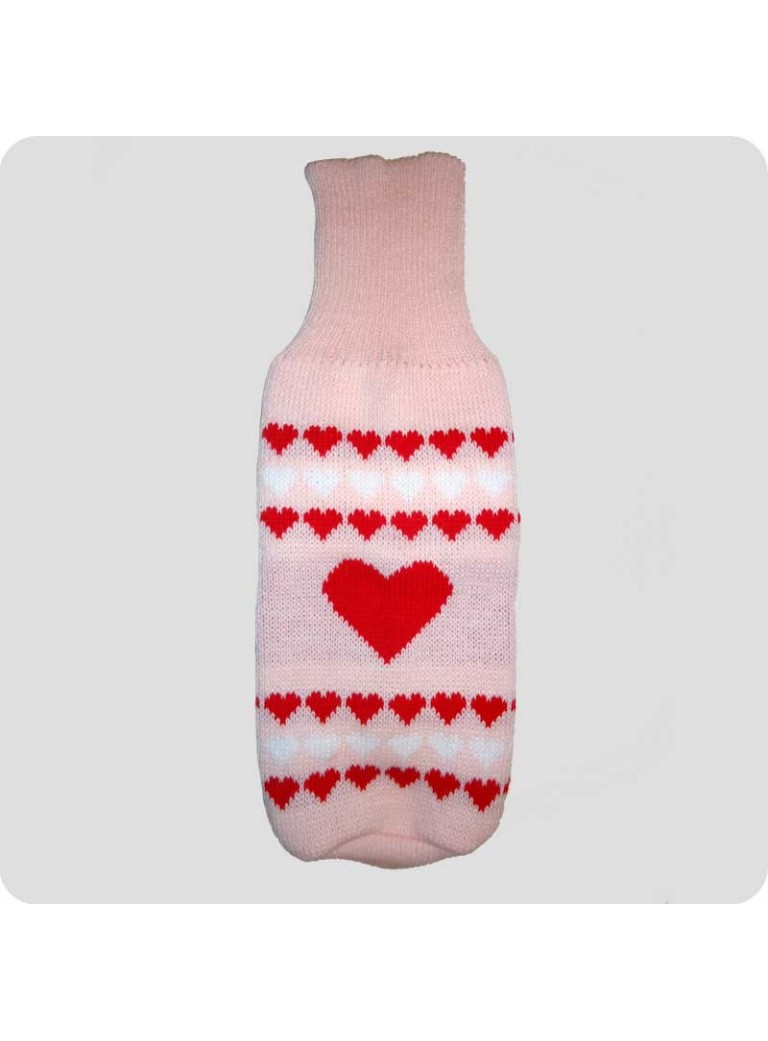 Sweater pink with hearts L
