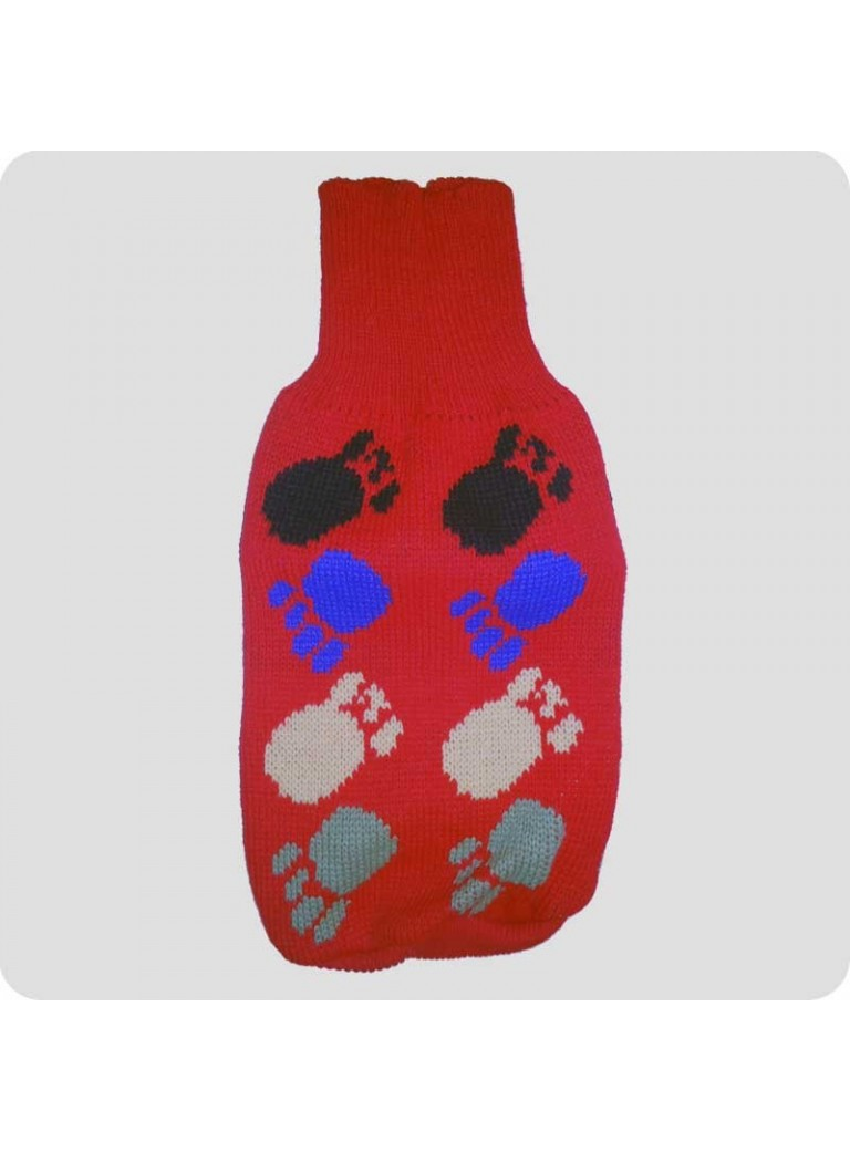 Sweater red with pawprints L
