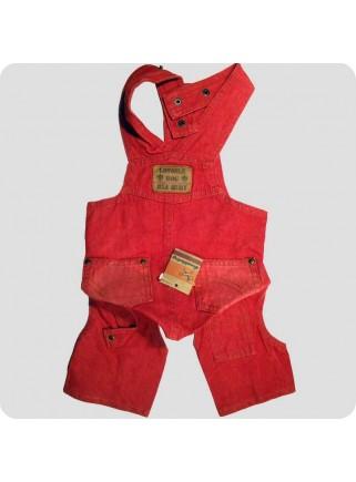 Røde jeans med smæk
