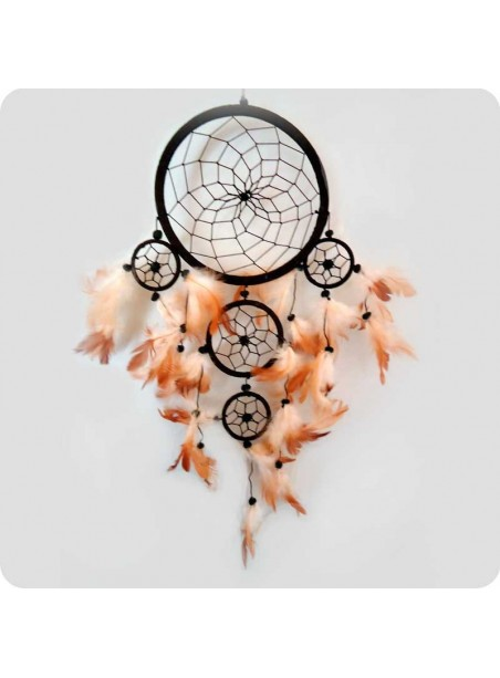 Dreamcatcher 16 cm brown 5 rings