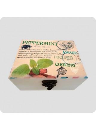 Træ-æske pebermynte t/12 flasker olie