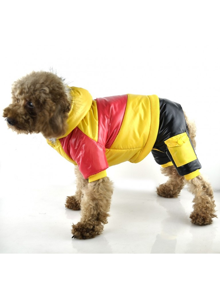Suit red, black, yellow 4 legs L