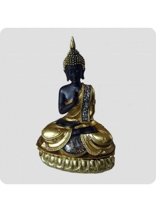 Buddha 23cm guldlook hånd op