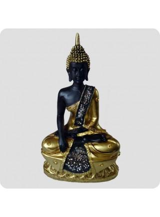 Buddha 23cm guldlook hånd nede