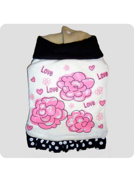 "Beige winter dress ""love"" L"