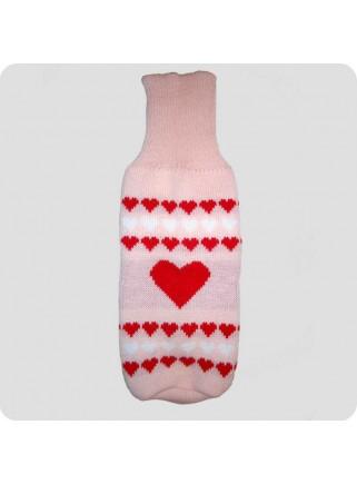 Sweater pink med hjerter XL