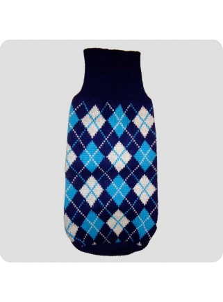 Sweater blue checquered L