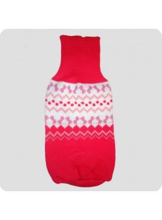 Sweater rød med fint mønster M