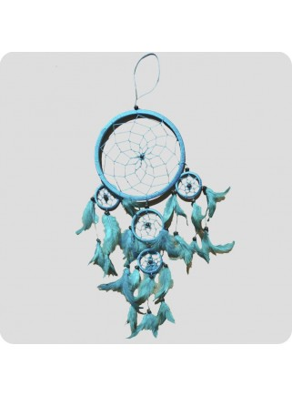Dreamcatcher 12 cm turquoise/turquoise feathers