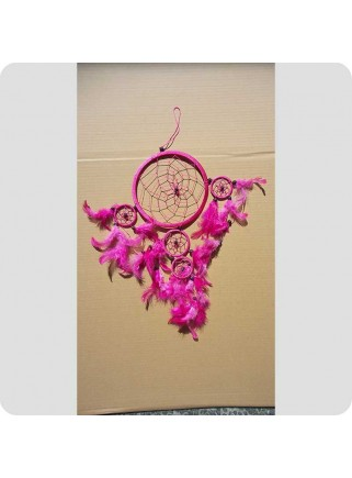 Dreamcatcher 22 cm pink with pink feathers