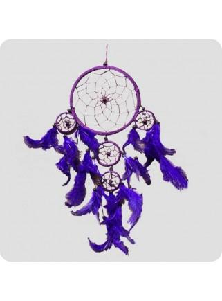 Dreamcatcher 22 cm purple with purple feathers