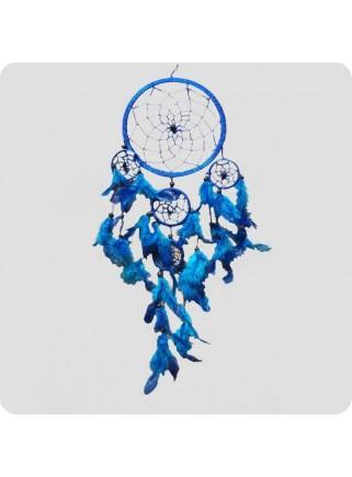 Drømmefanger 22 cm blå med blå fjer