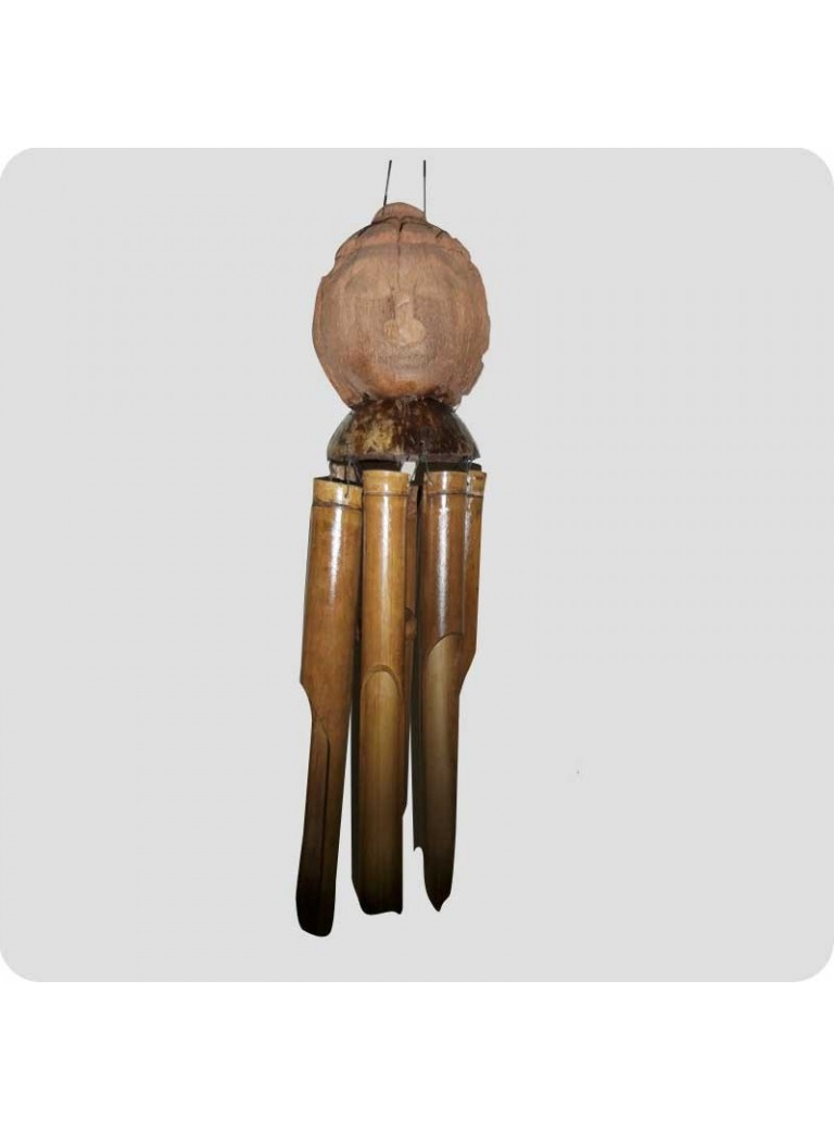 Windchime with wooden buddha's head