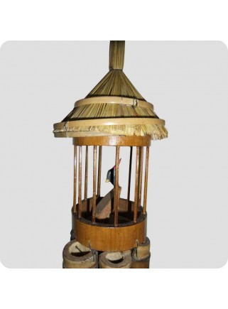 Windchime with birdcage with bird