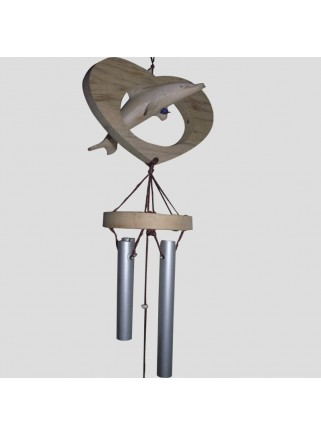 Windchime metal dolphin and heart