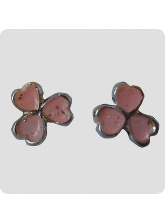 Ear studs 3 hearts pink