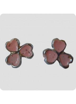 Øreringe 3 hjerter lyserød