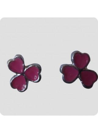 Øreringe 3 hjerter pink