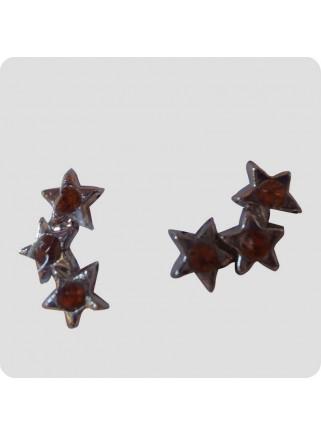 Øreringe 3 stjerner gylden på linje