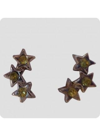 Øreringe 3 stjerner lime på linje