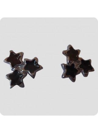 Ear studs 3 stars black