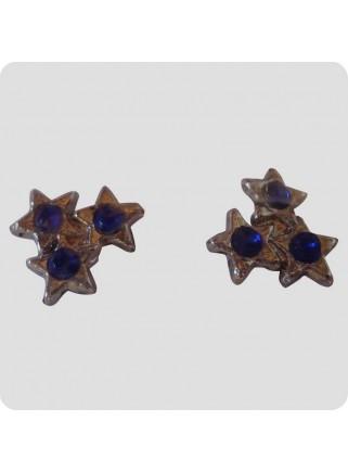 Øreringe 3 stjerner blå