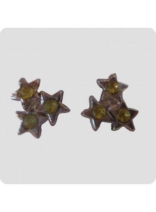 Ear studs 3 stars lime