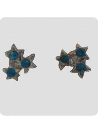 Øreringe 3 stjerner turkisblå