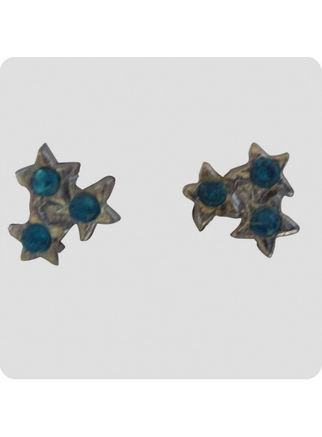 Ear studs 3 stars turquoise blue