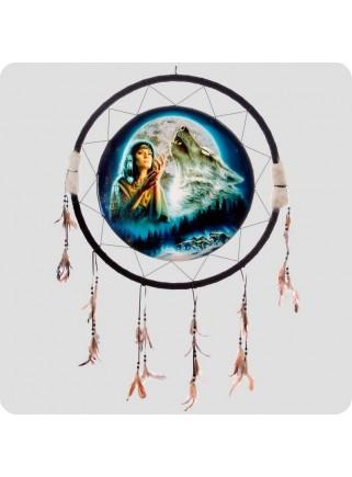 Skjold 60 cm indianerpige og ulv
