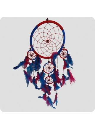 Dreamcatcher 16 cm blue and red