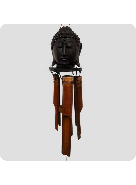 Vindspil Buddha hoved i mørkt træ