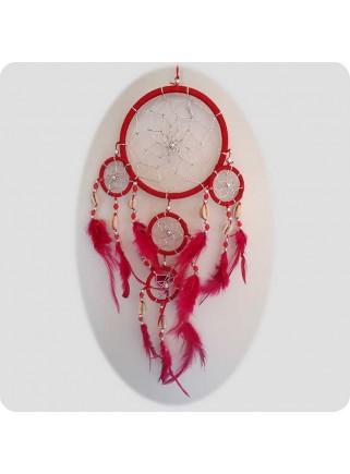 Drømmefanger 12 cm rød m/sølvtråd