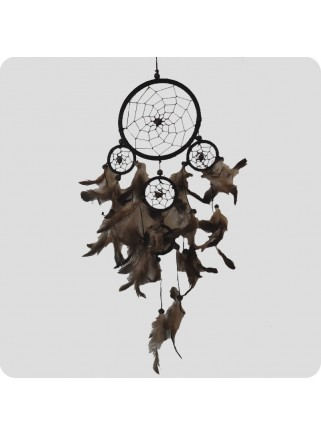 Dreamcatcher 22 cm black/grey and black feathers