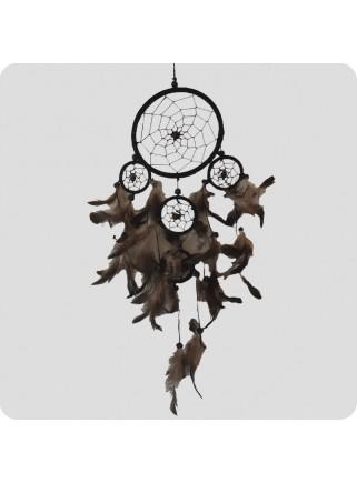 Dreamcatcher 22 cm black/grey and black feathers