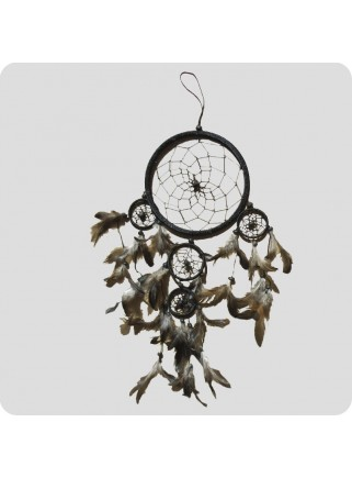 Dreamcatcher 12 cm black/grey and black feathers