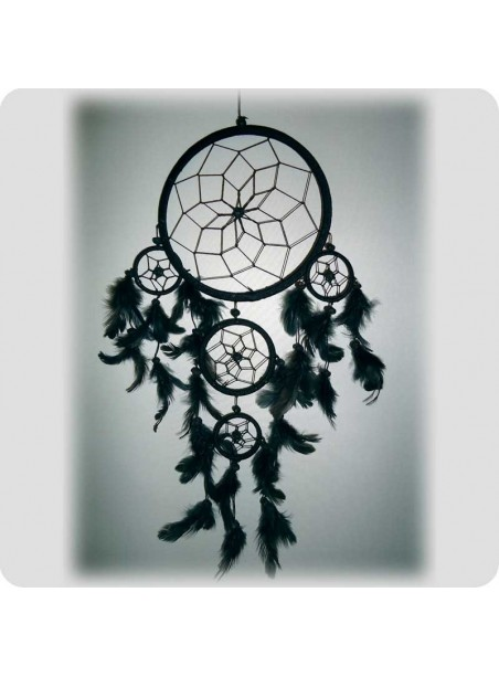 Dream catcher 16 cm black/black and grey feathers