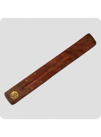 Røgelsesholder træ 26 cm messingindlagt stjerne