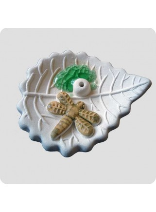 Incenseholder leaf with dragonfly small
