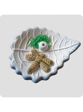 Røgelsesholder blad med guldsmed lille