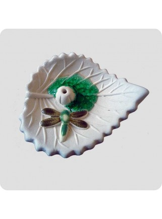 Incenseholder leaf with dragonfly large