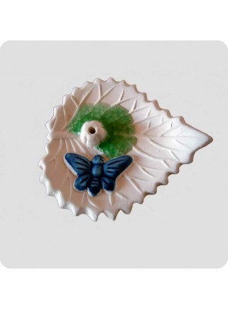 Incenseholder leaf with butterfly large