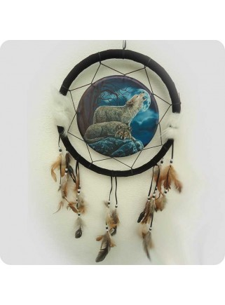 Dreamcatcher 33 cm 2 wolves with moon