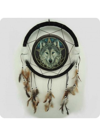 Dreamcatcher 33 cm wolf head