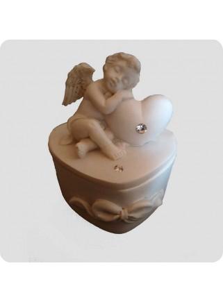 Hjerteformet æske med engel